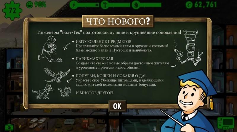 Fallout Shelter обновление 1.4