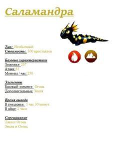 как вывести саламандру в игре легенды дракономании