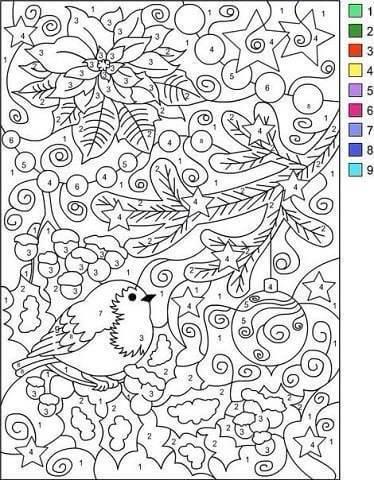 Раскраска по номерам Новогодний лес - скачать, распечатать
