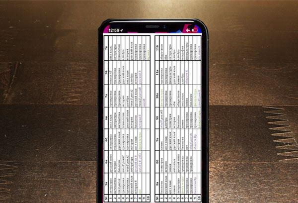 Телефон с расписанием