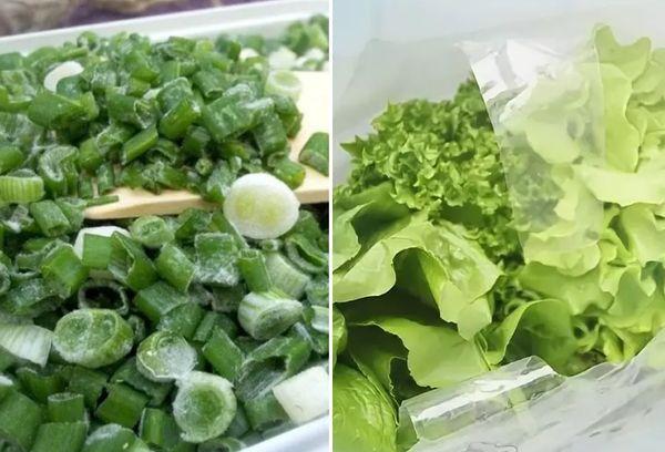 Зеленый лук и салат