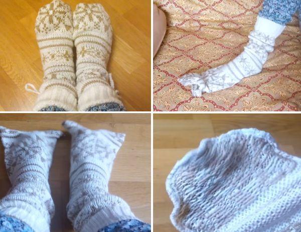 Теплые домашние носки из свитера