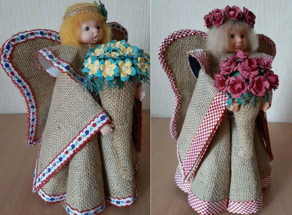 Детские игрушки куклы-ангелы из Мешковины