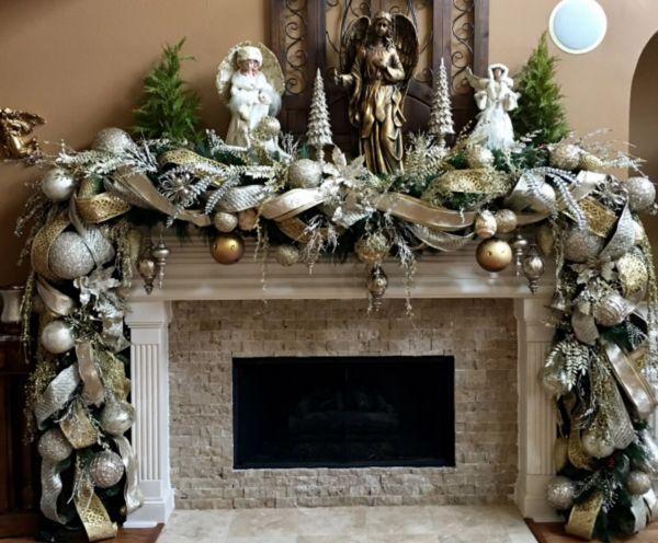 Камин с декорацией