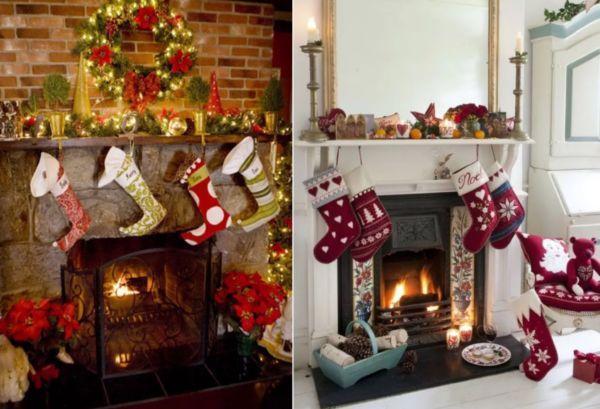 Подарочные носки для украшения камина