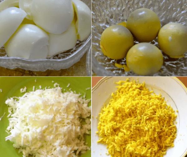 Отваренные и натертые на терке яйца