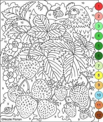 Раскраска по номерам Деревенский сад — скачать, распечатать