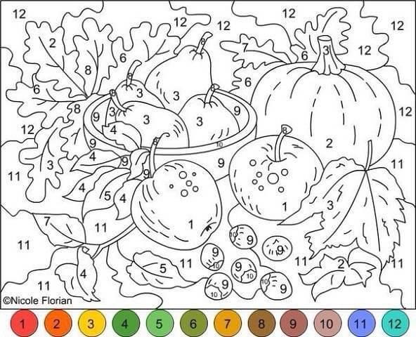 Раскраска по номерам Садовый натюрморт — скачать, распечатать