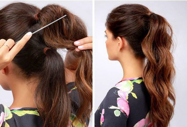 Два хвоста эффект густоты волос