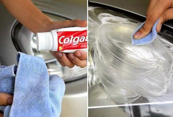 чистка зубной пастой
