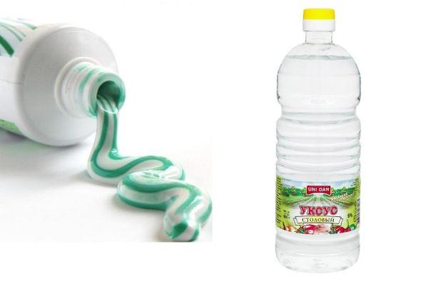 Зубная паста и уксус