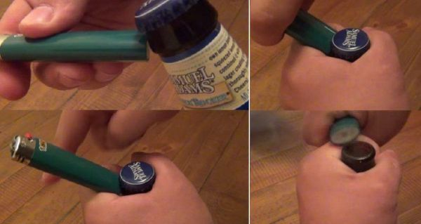 Открытие бутылки зажигалкой