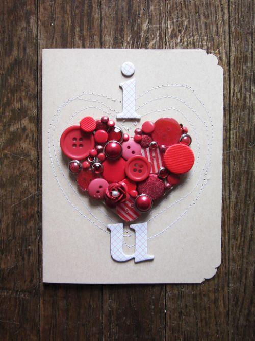 открытка из пуговиц