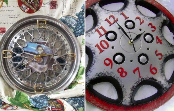 Часы из автомобильного колпака и диска