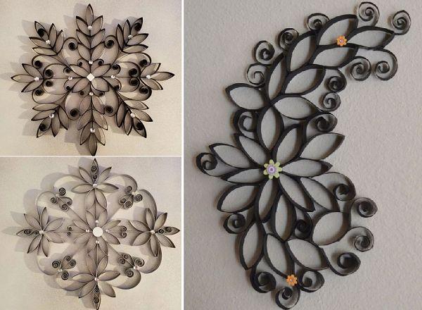 Панно из цветов из туалетного рулона