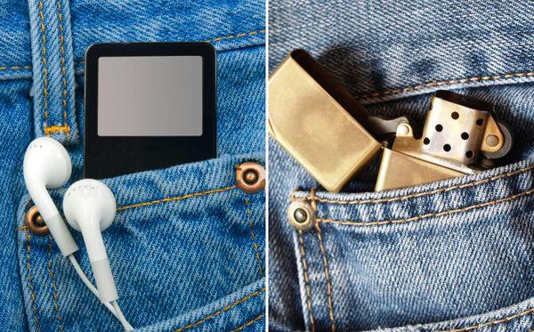 Зажигалка и наушники в кармане
