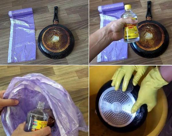Отмыть сковороду от нагара