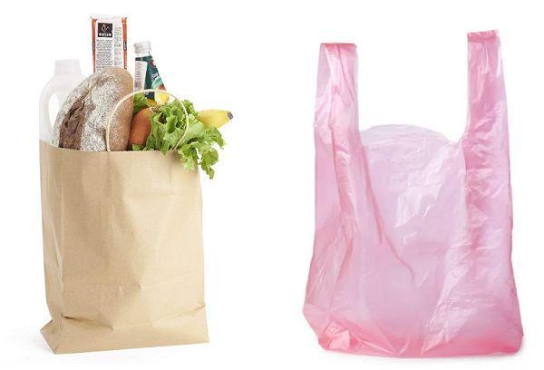 Бумажный пакет и целлофан