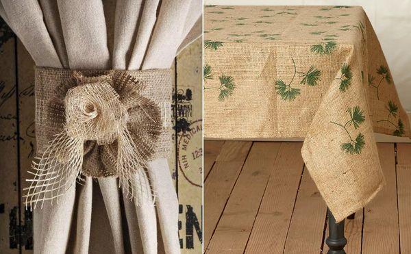 Скатерть и шторы из мешковины