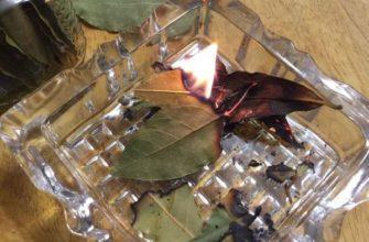 Сжигание лаврового листа на пепельнице