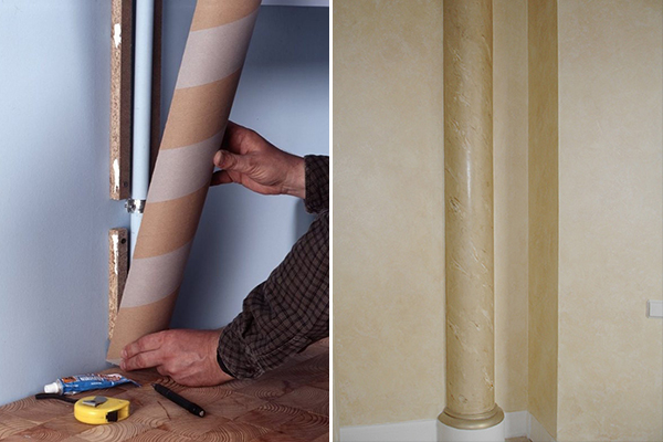 Маскировка труб в виде колонны