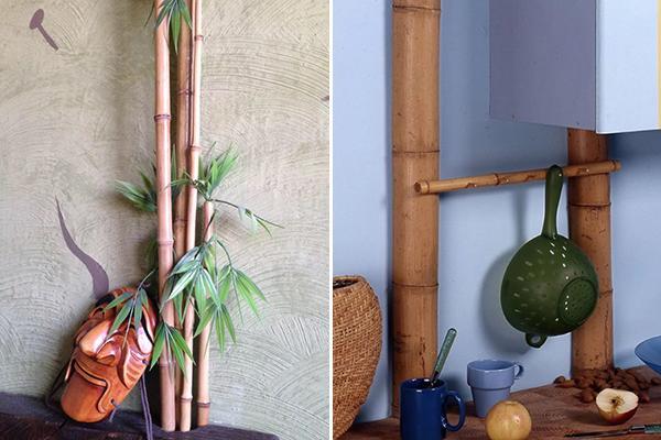 Маскировка труб стеблями бамбука