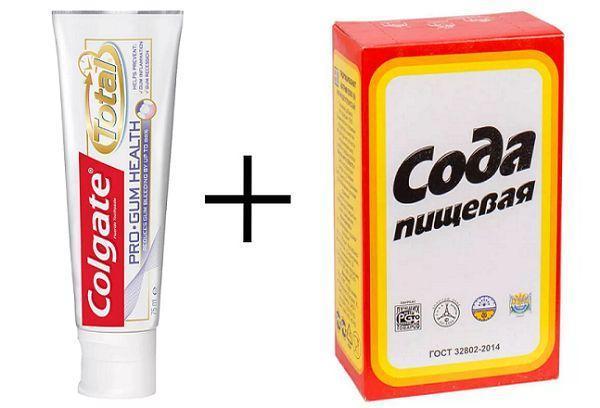 Зубная паста + сода