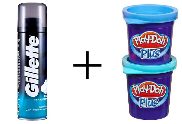 Пена для бритья + пластилин Play-Doh