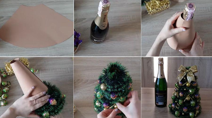 Елка из бутылки шампанского